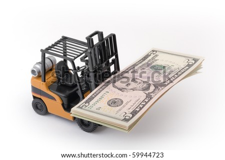 Toy fork lift with 5 dollar