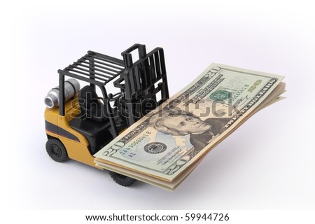 Toy fork lift with 20 dollar