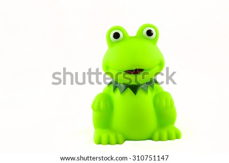 toy frog on white background