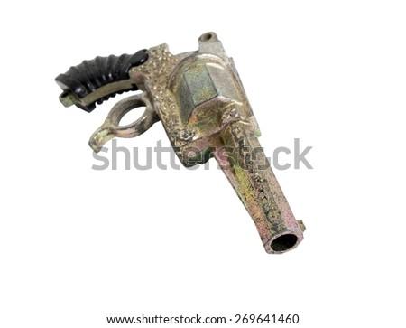 toy gun on the white background - stock photo