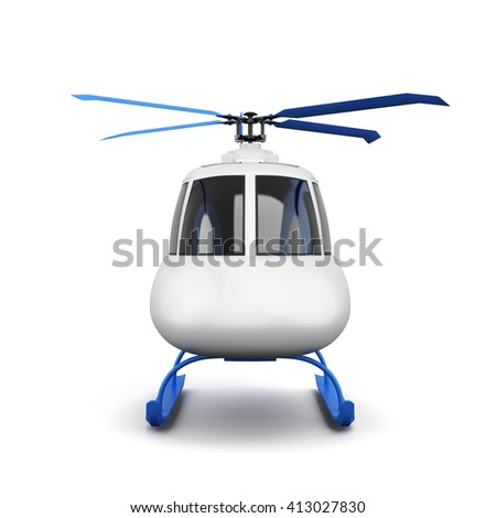 Toy helicopter isolated on white background. Front view. 3d rendering. - stock photo