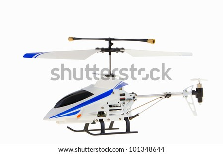 Toy helicopter model isolated on a white background - stock photo