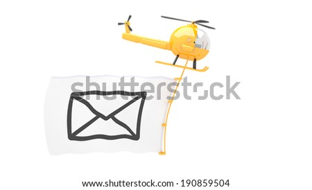 toy helicopter with new male flag for use in presentations, manuals, design, etc. - stock photo