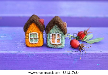 toy houses and dog rose red  berries  - stock photo