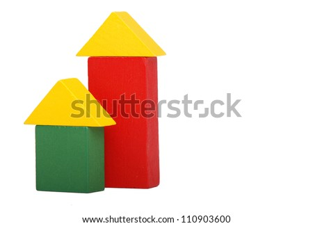 toy houses from wooden blocks