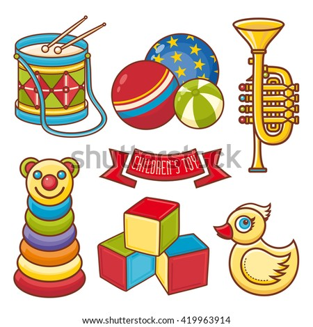 Toy icon. Baby game. Isolated. Child, kid, baby, infant teddy bauble. Children's toys. Music instrument. Drum. Saxophone. Trumpet. Pyramid. Yellow duck. Ball isolated. Cube icons. Ribbon. Color Set. - stock photo