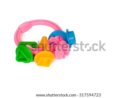 Toy keys. Form a circle, triangle, square, cross. Isolated on white background