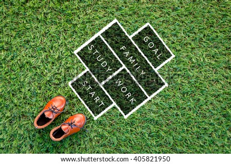 toy leather shoe on grass field texture background with symbol of life success in rectangle drawing - stock photo