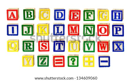 Toy letters alphabet isolated on white - stock photo