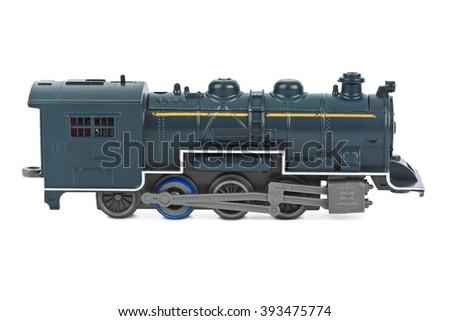 Toy locomotive isolated on white background - stock photo