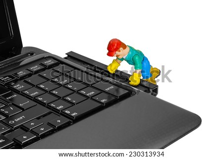 toy man repairing a laptop, warranty, service center, isolate