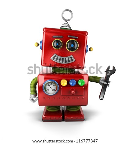 Toy mechanic robot holding a wrench over white background