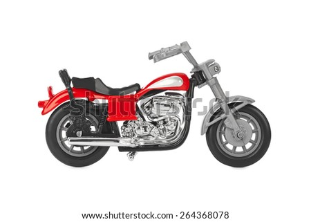 Toy motorbike isolated on white background - stock photo