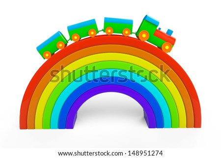 Toy multicolor train over rainbow bridge on a white background - stock photo