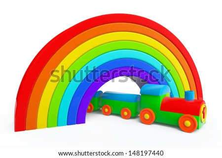 Toy multicolor train under rainbow bridge on a white background - stock photo