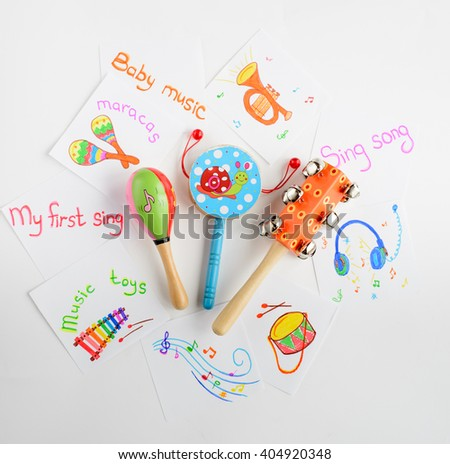 Toy Musical instruments collection on white background. Top view