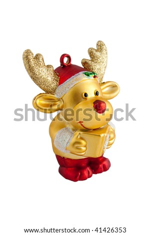 toy of golden reindeer with present in hand. Isolated on white