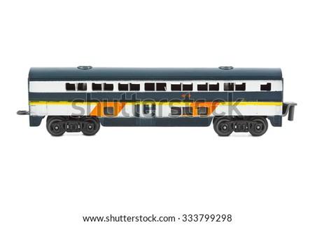 Toy passenger wagon isolated on white background - stock photo