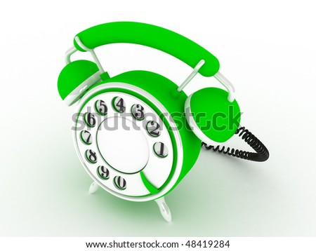 Toy phone over white background