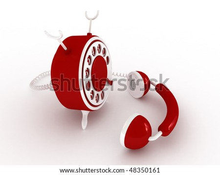 Toy phone over white background (White, red) 3D