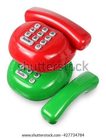 Toy Phones on White Background - stock photo