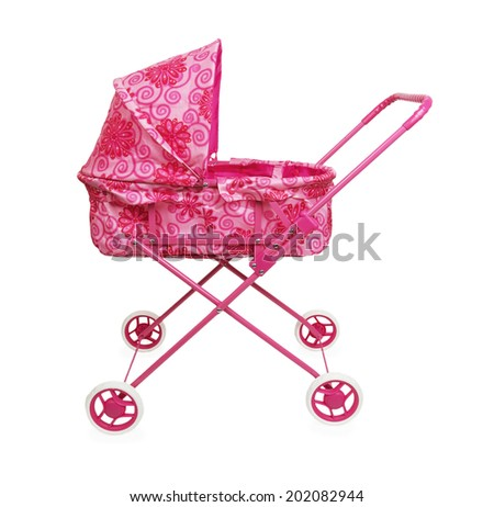 Toy pink pram isolated on a white background - stock photo