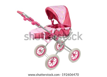 Toy pink pram isolated on a white background. Clipping path included. - stock photo