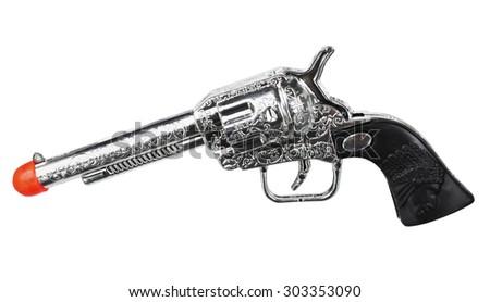 Toy Pistol on White Background - stock photo
