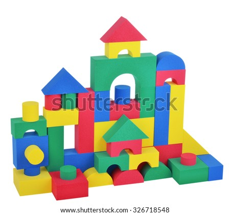 Toy plastic cubes big tower isolated on white background