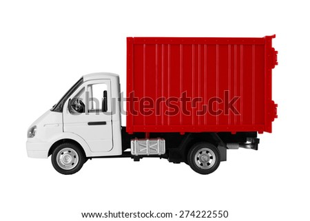 Toy red truck isolated on a white background - stock photo