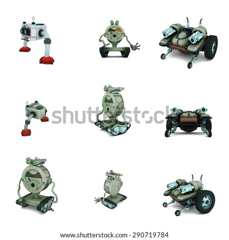 toy robot collage in white background - stock photo