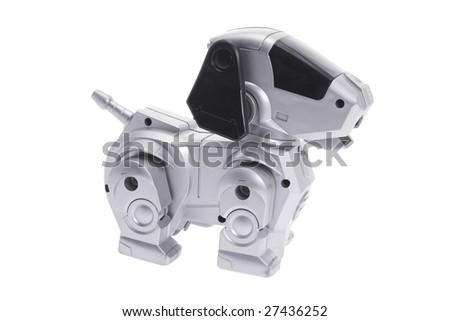 Toy Robot Dog on Isolated White Background - stock photo