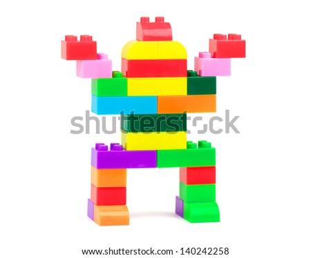 Toy robot made from toy plastic colorful blocks - stock photo