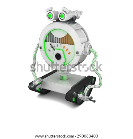 Toy Robot neon light on white Background