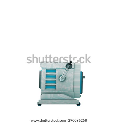 toy robot orthogonal proection in white back ground  - stock photo