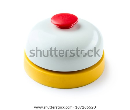 Toy service bell isolated on white background - stock photo
