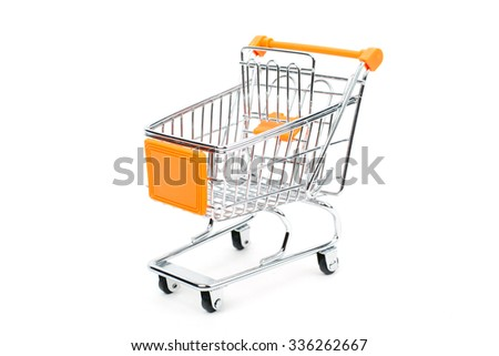 Toy shopping trolley isolated on a white background