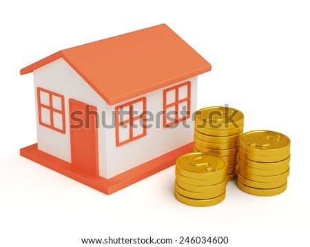 Toy small house standing near a heap of coins. Invest in real estate concept