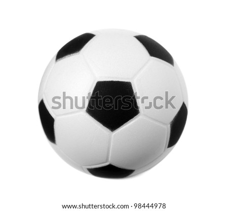Toy soccer ball isolated on white - stock photo