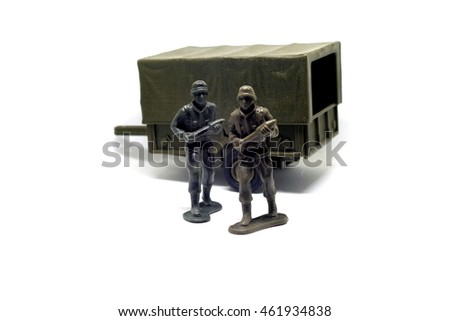 Toy soldier on isolated white background