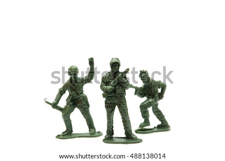 Toy soldiers on isolated white background