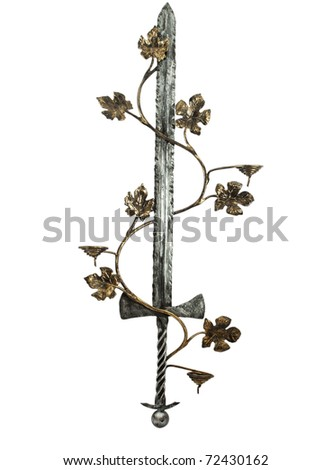 toy sword with a vine on a white background - stock photo