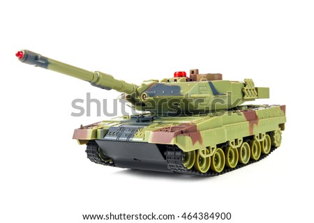 Toy tank against white background