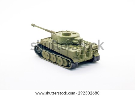 Toy tank isolate on white background - stock photo