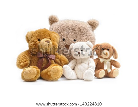 Toy teddy bear and dog isolated on white background - stock photo