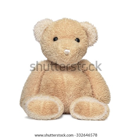 Toy teddy bear isolated on a white. - stock photo