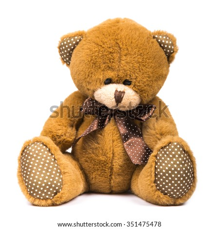 Toy teddy bear isolated on white background - stock photo