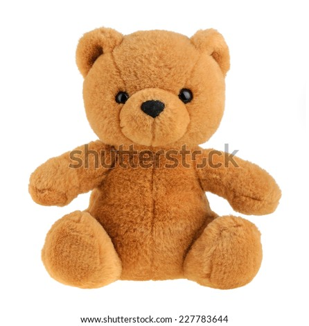 Toy teddy bear isolated on white, cutout - stock photo