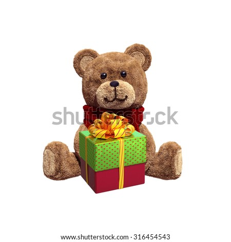 toy teddy bear sitting, holding Christmas wrapped gift box, 3d illustration isolated on white background