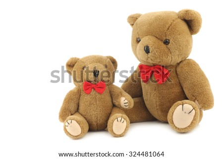 toy teddy bears isolated on white background - stock photo